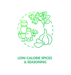 Low calorie spices and seasoning dark green vector