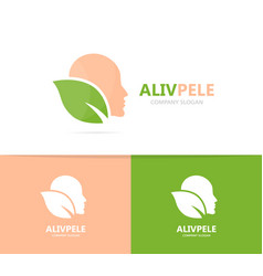man and leaf logo combination face and vector image