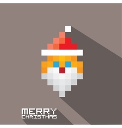 Merry christmas pixel art santa claus vector