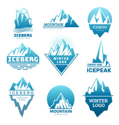 Mountain logo badges with ice rock pictures vector