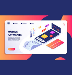 online payment isometric concept banking shopping vector image