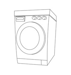 outline cartoon washing machine design isolated vector image