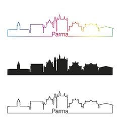 Parma skyline linear style with rainbow vector image
