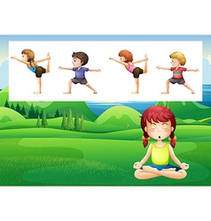 People doing yoga in the park vector