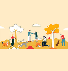 people walking with dogs at city park graphic vector image