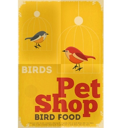 pet shop poster bird vector image vector image