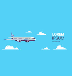 pixel art plane aircraft flying in sky air vector image