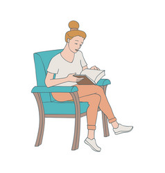 Reading woman sitting in vector