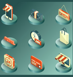 retail color isometric icons vector image
