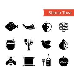 Rosh hashanah icons vector