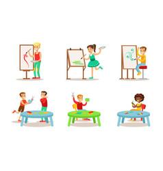 School children hobbies set teenagers boys and vector