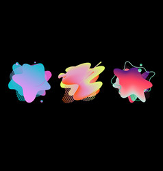 set abstract flowing liquid elements colorful vector image