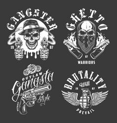 set gangster emblems vector image