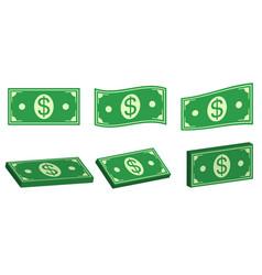 set icons money dollar flat and 3d bundle cash vector image