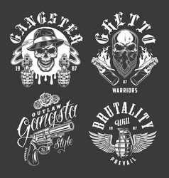 Set of gangster emblems vector