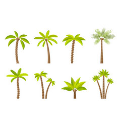 set of green simple trees vector image
