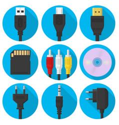 set plug usb and more gadgets vector image