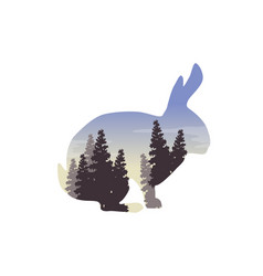 silhouette of a rabbit with inside the landscape vector image