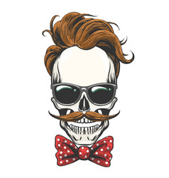 skull in glasses with mustache and bow tie vector image