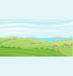 summer rural landscape meadow with green grass vector image