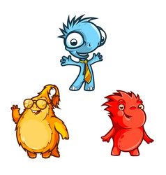 Three funny monsters vector