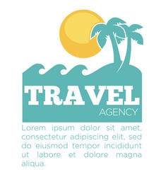 Travel agency promo banner with palms and sea vector