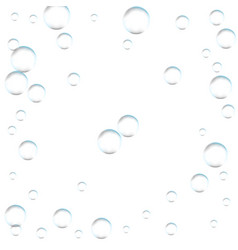 Underwater fizzing air bubbles on white vector