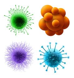 viruses bacterium 3d realistic germ microbes set vector image