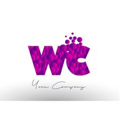 wc w c dots letter logo with purple bubbles vector image