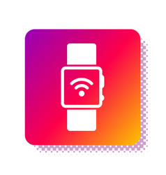 White smartwatch with wireless symbol icon vector