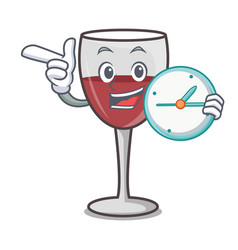 With clock wine character cartoon style vector