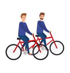 Young couple men in bikes vector
