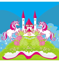 fairy castle appearing from the book vector image vector image