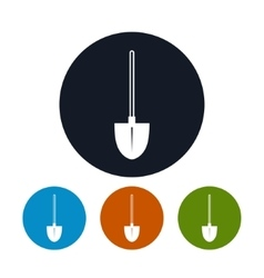 Four Types of Round Icons Shovel vector image