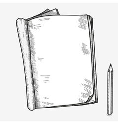 Hand drawn doodle sketch open notebook clear page vector image vector image