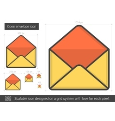 Open envelope line icon vector image