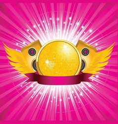 orange disco ball and speakers vector image vector image