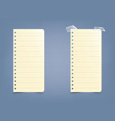 sheet page in a striped notebook notepad on a vector image vector image