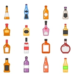 Alcohol bottles icons in flat line style vector