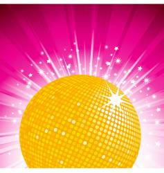 orange disco ball party background vector image vector image
