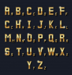 retro golden alphabet vector image
