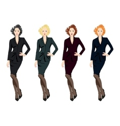 Set of beautiful business women in suits vector image vector image