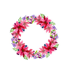 watercolor flower roses wreath vector image