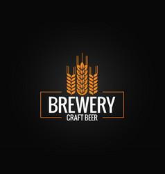 beer logo design brewery label on black vector image vector image