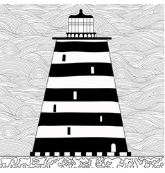 Cute cartoon striped lighthouse isolated on white vector