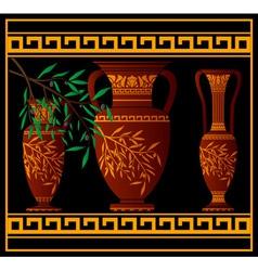greek red amphoras and jug vector image vector image