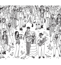 Group street musicians band with audience black vector image vector image