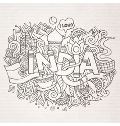 India country hand lettering and doodles elements vector image vector image