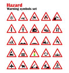 set road hazard warning signs road signs warn vector image