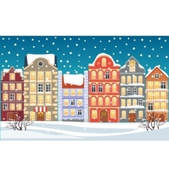 Christmas town xmas snowy old town vector